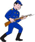 Union Army Soldier Bayonet Rifle Cartoon Stock Illustration