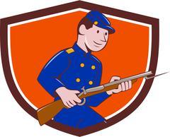 Union Army Soldier Bayonet Rifle Crest Cartoon - stock illustration