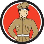 World War One British Officer Standing Circle Cartoon - stock illustration