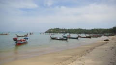 Fishing boats are in the bay waiting for the departure - stock footage