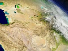 Central Asia from space - stock illustration