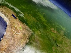 Bolivia from space Stock Illustration