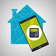 Smart house design. home icon. White background - stock illustration