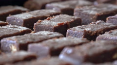 Brownie  chocolate cakes rotating closeup background Stock Footage