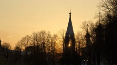 Yaroslavl, Church of St. Nicholas the Wet Mokry at sunset timelapse, 17th Stock Footage