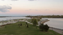 View of the city park strelka in Yaroslavl located along the Volga river Stock Footage