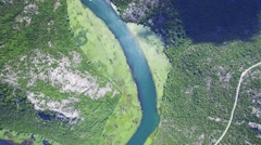 Canyon of river Crnojevica, Montenegro, aerial view - stock footage