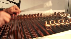 Man playing the dulcimer during a performance Stock Footage