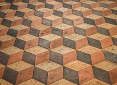 Three dimensional effect in stone floor Stock Photos