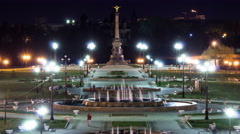 Fountain Performance in Strelka Park of Yaroslavl night timelapse Stock Footage