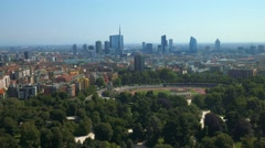 Milan aerial view of park and business district - stock footage