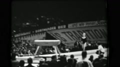 1966: Věra Čáslavská Czechoslovakia women's vault 16th Artistic Gymnastics World - stock footage