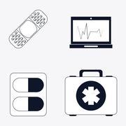 Medical care design. Health care icon. Flat illustration , editable vector - stock illustration