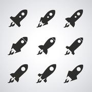 Rocket desing. Spaceship icon. Flat illustration , editable vector - stock illustration