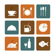 Lunch time design. Menu icon. Flat illustration , editable vector - stock illustration