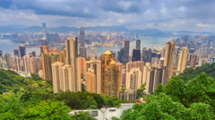Hong Kong Cityscape High Viewpoint Of The Peak Time Lapse (zoom out) Stock Footage
