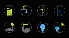 Green energy Animated icons for your website, app, presentation or movie. - stock footage