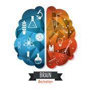 Brain design. Mind concept. White background , editable vector - stock illustration