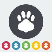 Paw vector flat icon - stock illustration