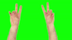 Hands peace on green screen 4k Stock Footage