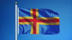 Aland Islands flag in slow motion seamlessly looped with alpha Stock Footage