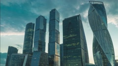 Skyscrapers of Moscow city business district in evening 4K time lapse Stock Footage