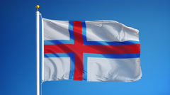 Faroe Islands flag in slow motion seamlessly looped with alpha Stock Footage