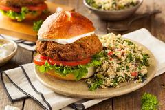 Homemade Mediterranean Falafel Burger - stock photo