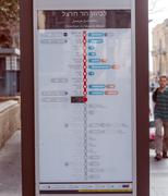 JERUSALEM, ISRAEL - FEBRUARY 15, 2013: Modern map of rapid tram line Stock Photos