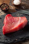 Raw Organic Pink Tuna Steak Stock Photos
