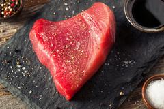 Raw Organic Pink Tuna Steak - stock photo