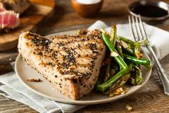 Homemade Grilled Sesame Tuna Steak - stock photo