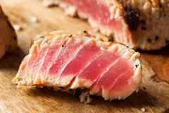 Homemade Grilled Sesame Tuna Steak Stock Photos