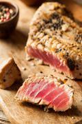 Homemade Grilled Sesame Tuna Steak - stock photo
