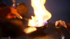 Plates with fire inside putten one by one for a real food show Stock Footage