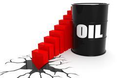 Oil price suddenly fall through the floor - stock illustration