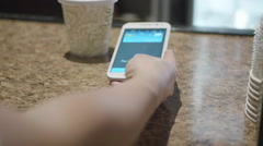 Dolly Shot Paying at Cafe with NFC Mobile Phone App - stock footage