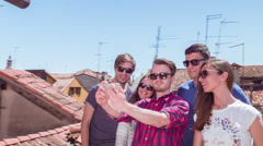 Friends Posing Selfie Arms Raised Wireless Smart Phone Communication Memories Stock Footage