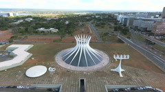 Aerial Catedral e avenida Brasília, Distrito Federal capital Brazil Stock Footage