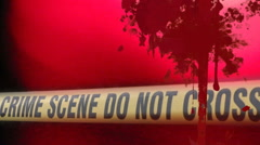 Bloody crime scene fly in and out Stock Footage