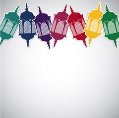 Bright Moroccan lantern card in vector format. - stock illustration