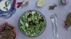 4k food composition on a vintage background with a salad bowl Stock Footage