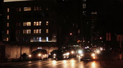Midtown Traffic at Night with Empire State Building in Background Stock Footage