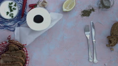4k food composition on a vintage background with a rolling toilet paper Stock Footage