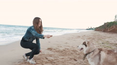 Young attractive girl training siberian husky dog on the beach - stock footage