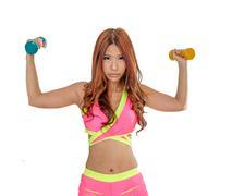 Asian woman lifting dumbells - stock photo