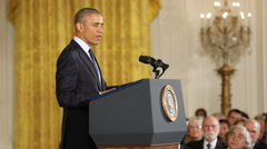 Obama Speaking at Science Award Ceremony slow motion Stock Footage