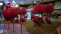 Decorative Chinese New Year Display in a popular, Hong Kong shopping mall - stock footage