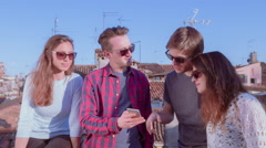 Friends Mobile Phone Sharing Connection Internet Curiosity Looking Summer Stock Footage