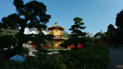 Beautiful, golden pagoda and gardens of Chi Lin Nunnery in Hong Kong Stock Footage